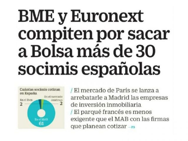 Lee más sobre el artículo «La Bolsa de París quiere disputar con BME la salida a Bolsa de 30 socimis»