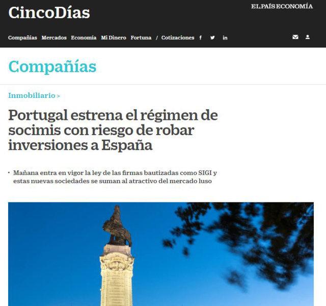 Lee más sobre el artículo «Portugal estrena el régimen de socimis con riesgo de robar inversiones a España»